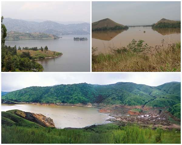 Lake Kivu (top-left), Lake Monoun (top-right) and Lake Nyos (bottom-centre)