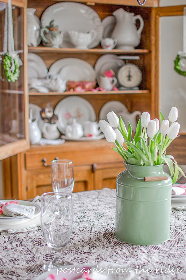 white tulips in a green milk can on a vintage lace tablecloth