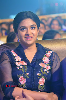 Actress Keerthi Suresh Stills in Blue Long Dress at Nenu Local Audio Launch  0007.JPG