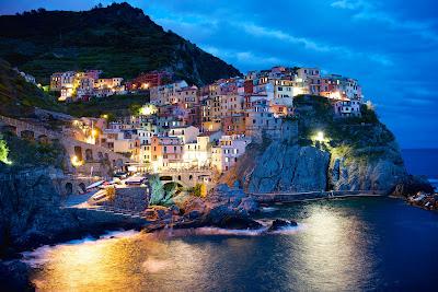 Night scene Manarola, Cinque Terre, Italy