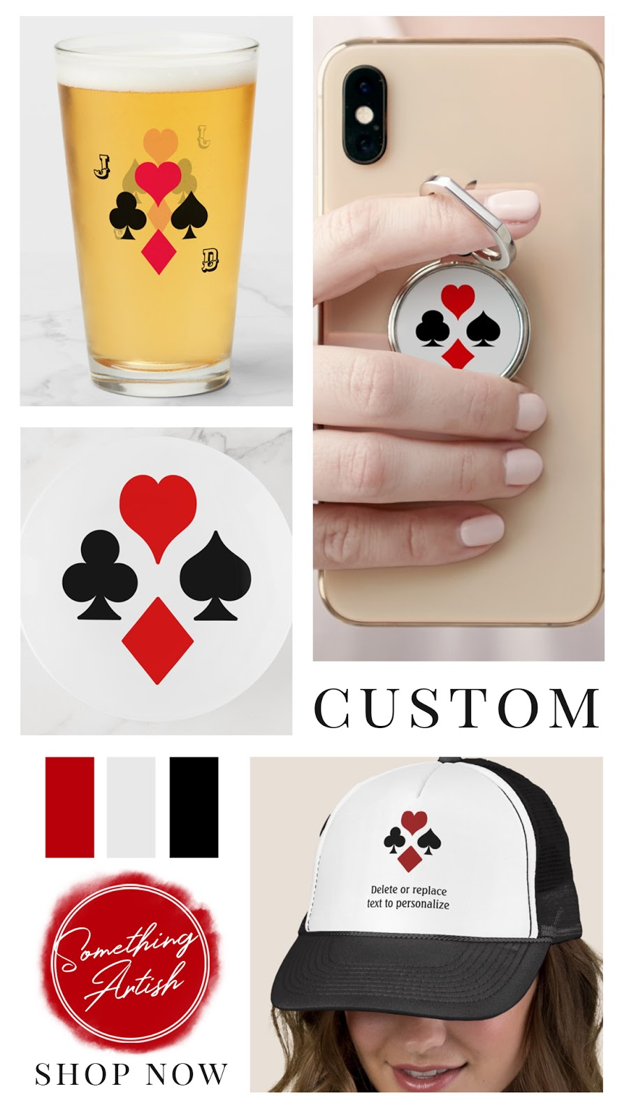 Personalized and monogrammed beer glass, phone grip, trucker cap, and trinket tray for holding poker chips. With playing card suit symbols; hear, spade, club, and diamond.