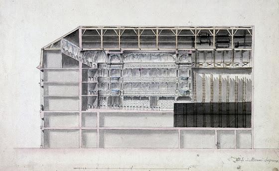 Vue en coupe du théâtre Montansier   (Anciennement attribué à Pierre-Louis Moreau-Desproux (1727-1794) :  Nancy Storace y a chanté - Musée Carnavalet