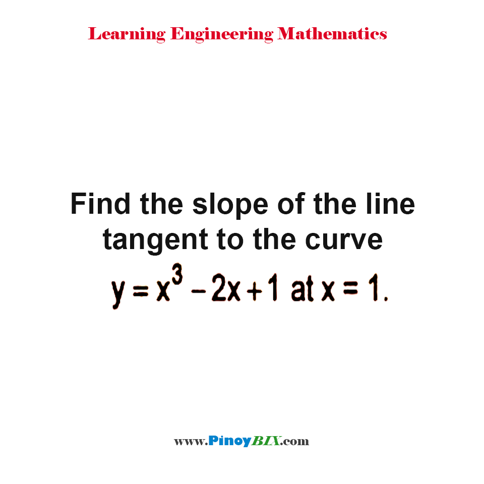 Find the slope of the line tangent to the curve y = x^3 – 2x + 1 at x = 1