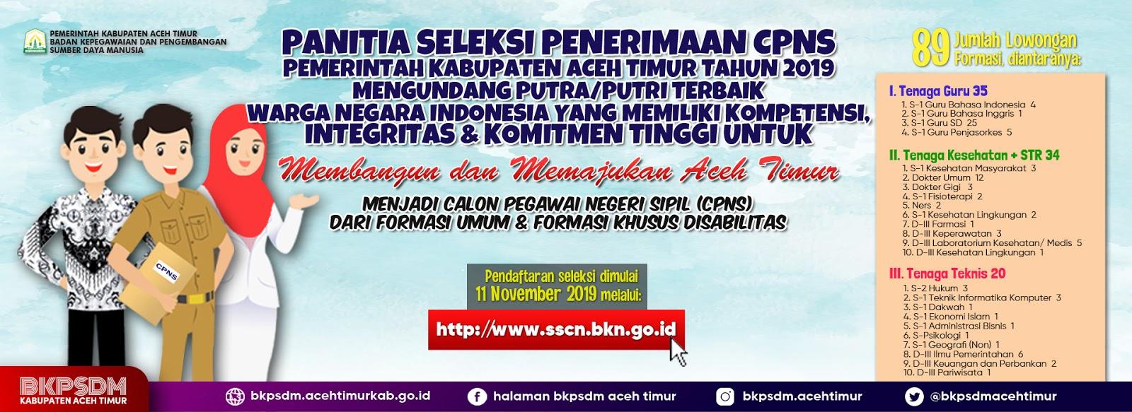 Formasi Penerimaan CPNS Pemkab Aceh Timur [89 Formasi]