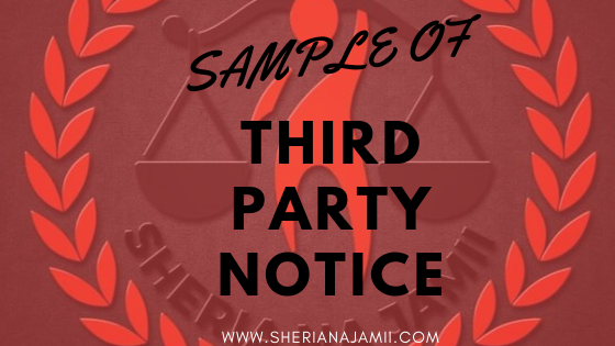 THIRD PARTY NOTICE  TAKE NOTICE that the suit herein has been instituted by the Plaintiff against the Defendant particulars of the claim being as set out in the Plaint, a copy of which is served herewith together with a copy of the Defendant's Statement of Claim. The Defendant claims against you, payment of TSh……………………… being outstanding council levies claimed against the Defendant by the Plaintiff for hard rock and gravel excavate in,..