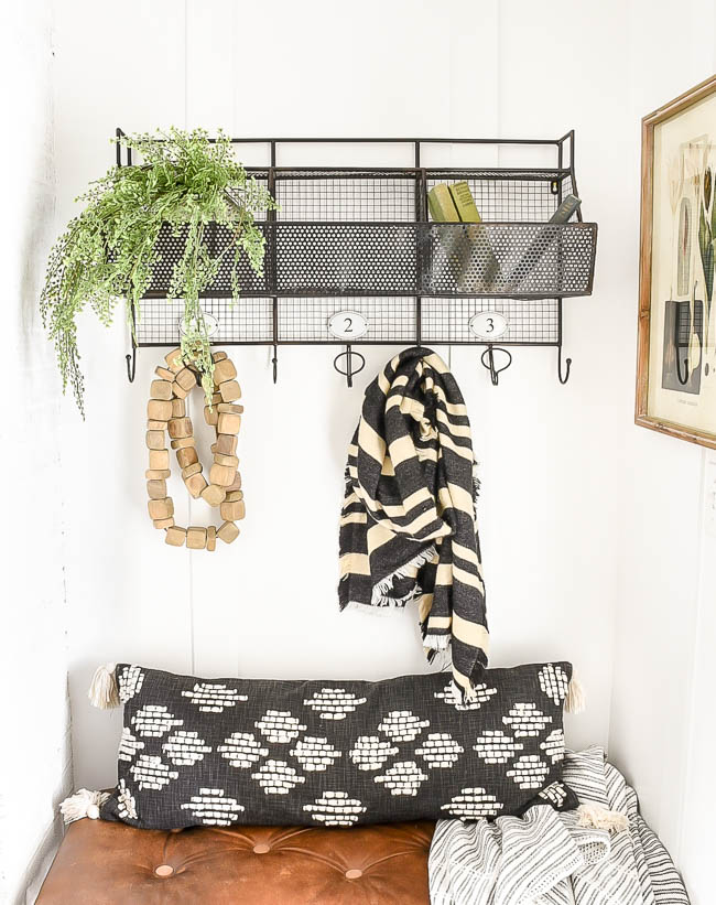 Black and white textured pillow and throw blanket