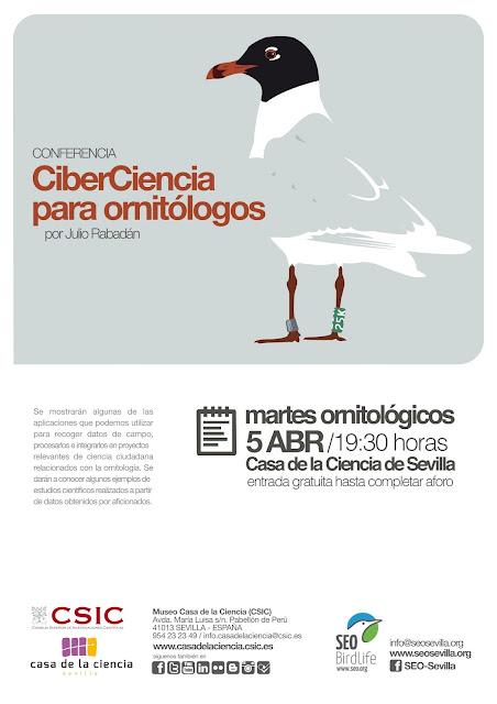 """Conferencia: """"CiberCiencia para ornitólogos"""". Por Julio Rabadán. Grupo Local SEO-Sevilla."""