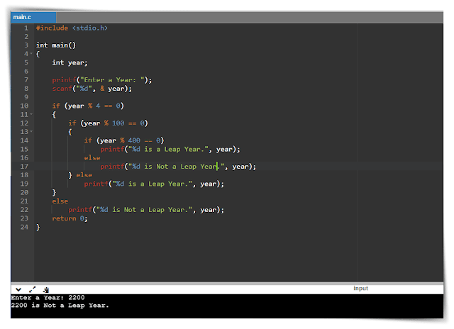 Output of Leap Year Program in C