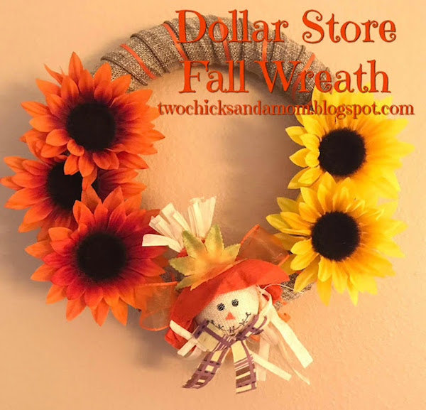 DIY Dollar Store Fall Sunflower and Scarecrow Wreath