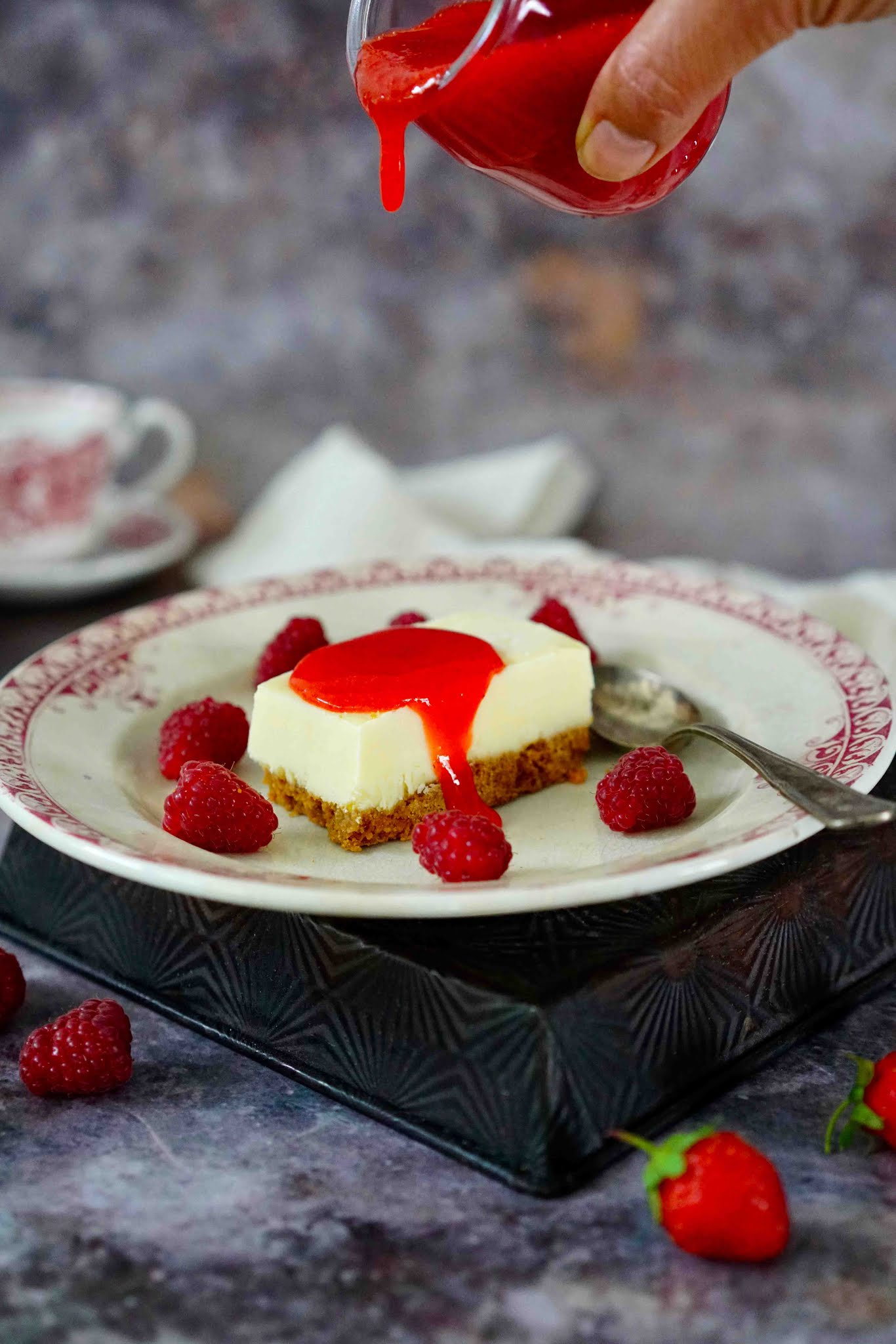 glace , cheesecake , dessert pratique à faire , spéculoos , fraises