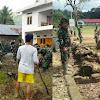 Personel Kodim 1424/Sinjai, Warga dan Mahasiswa KKN Persiapkan Lokasi Pembukaan TMMD Ke 105
