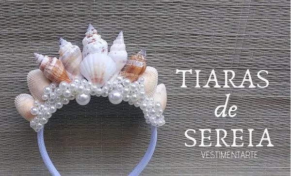 Tiara Sereia Conchas Pérolas Carnaval