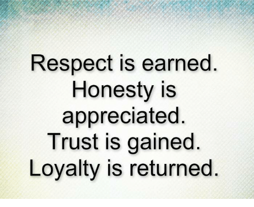 Own Inspirational Quotes 9 Respect Is Earned Honesty Is Appreciated Quote