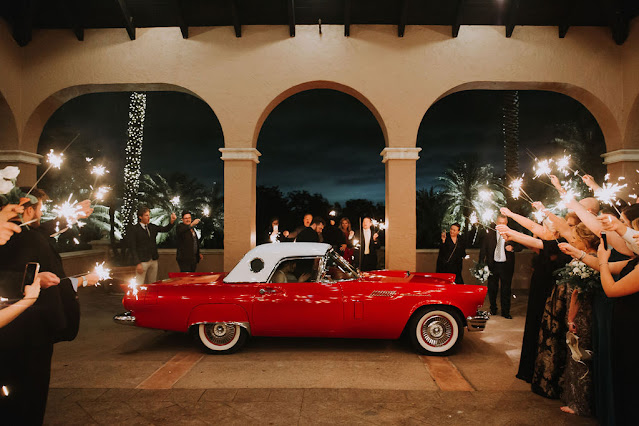 sparkler exit with classic car