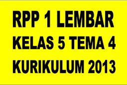 RPP 1 Lembar Kelas 5 Tema 4 Kurikulum 2013 Revisi 2020