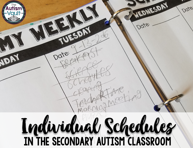 Individual schedules are paramount for success in the autism classroom.  They help our students learn to transition, manage themselves, and take the anxiety out of the school day.  See how I use individual schedules for readers and non-readers alike in my secondary autism classroom.