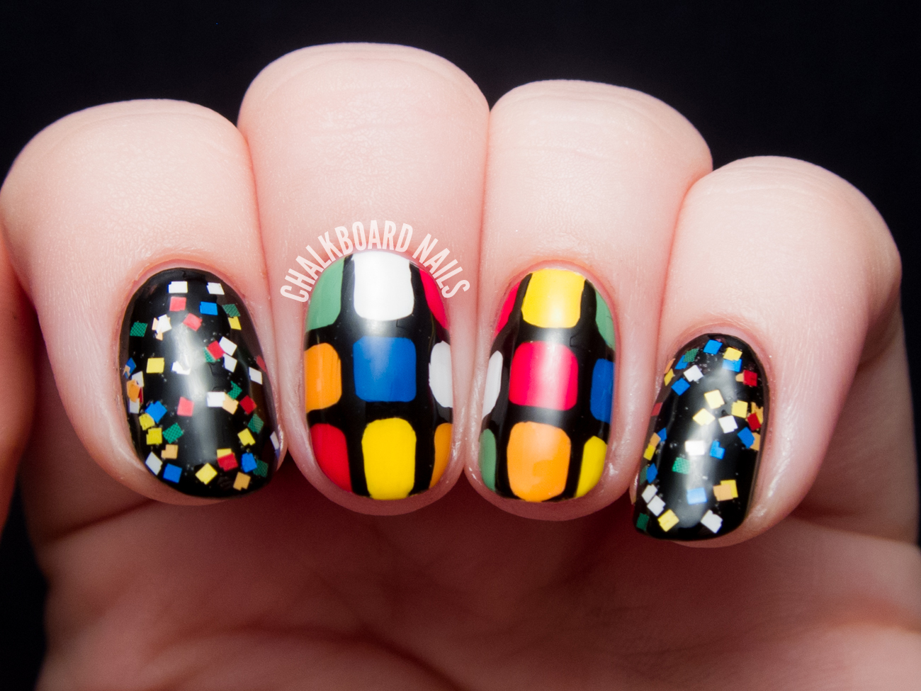 Rubik S Cube Nail Art Chalkboard Nails Nail Art Blog