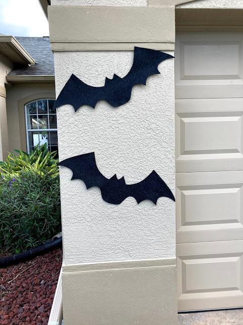 Outdoor Halloween decor - felt bats