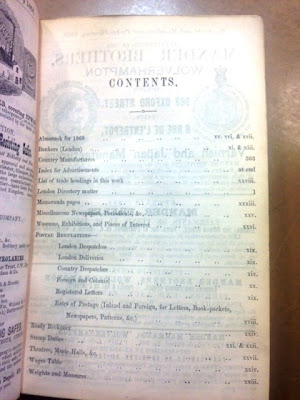 Merchants' and Manufacturers' Pocket Directory of London, contents