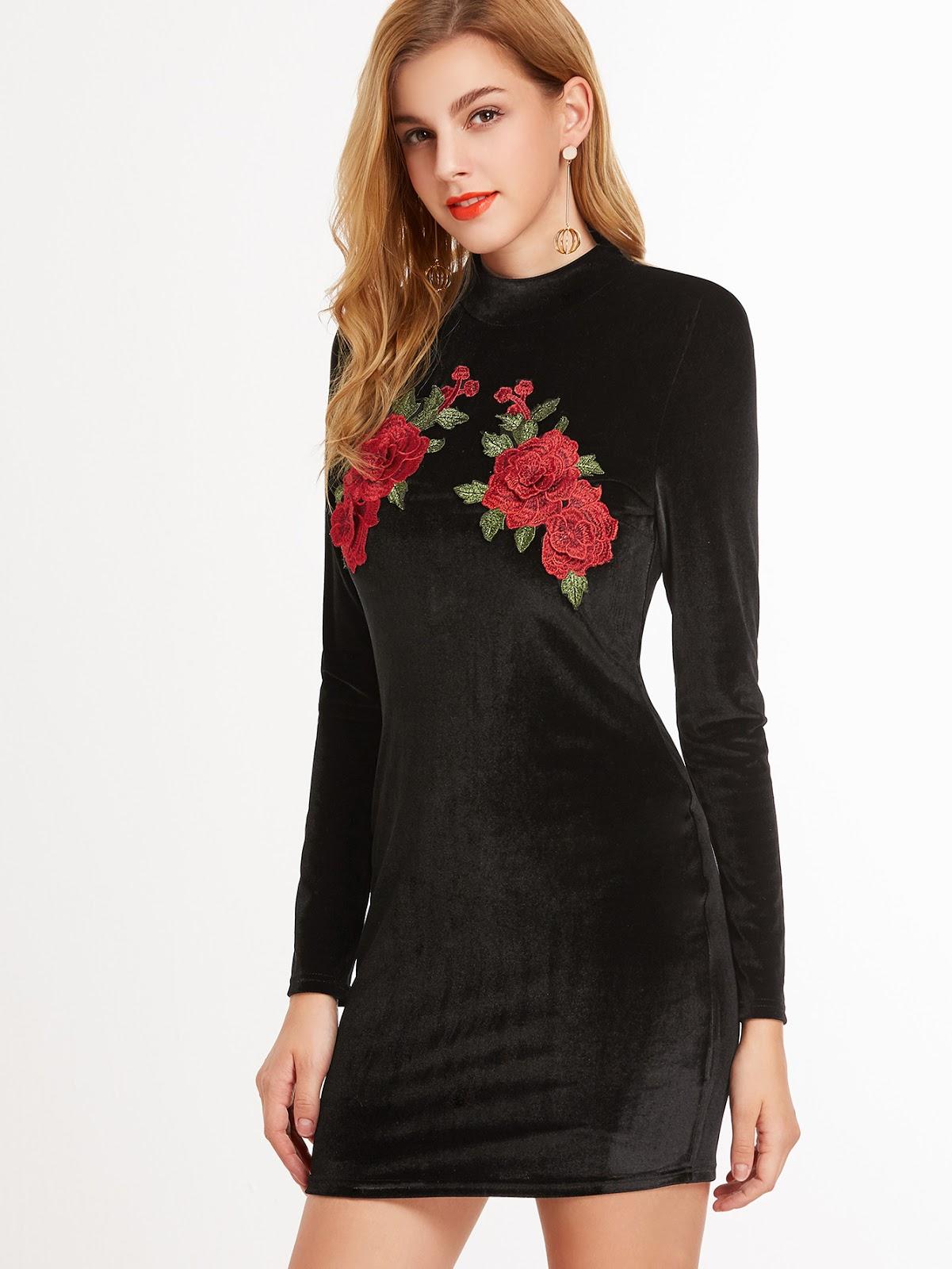 Black Embroidered Flower Applique Velvet Bodycon Dress