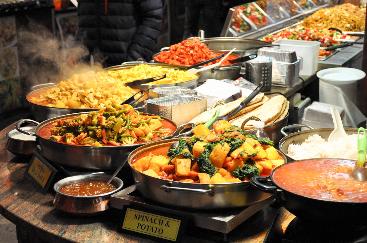 Indian food stall, Stables Market, Camden Town, London, England