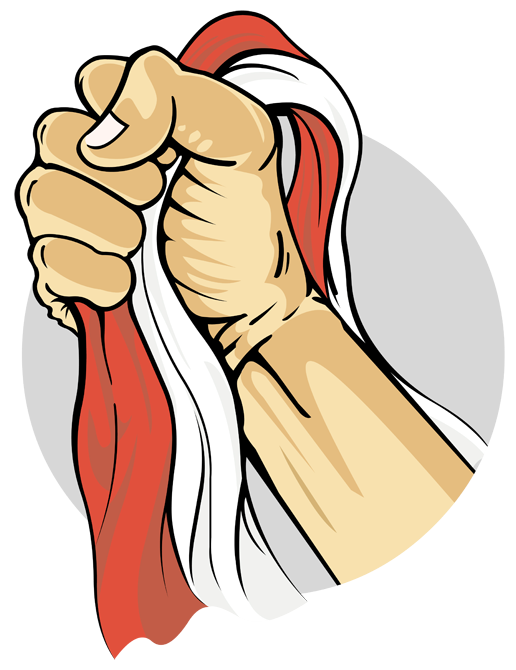 Person holding red and white textile illustration, Indonesia Hari Bela Negara Operation Kraai Ministry of Defence, vector, hand, human, fictional Character png free png download