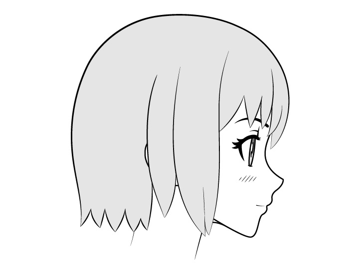 Gadis anime menghadapi gambar tampilan samping