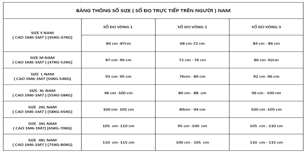 Bảng Hướng Dẫn Lấy Thông Số Đo Size (Nam)