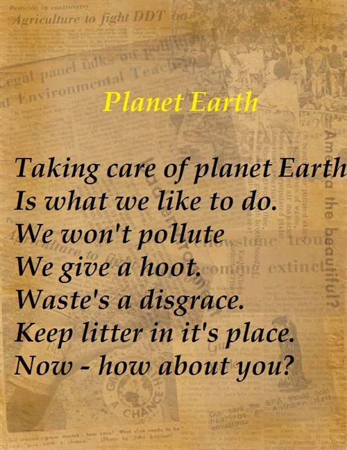 Short Earth Day Poems For Preschoolers Free