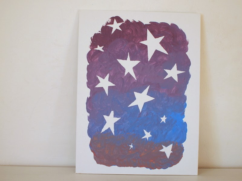 Star Painting Using Contact Paper Pink Stripey Socks