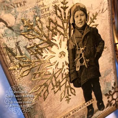 Sara Emily Barker https://sarascloset1.blogspot.com/2019/12/quick-christmas-cards-with-tim-holtz.html Mixed Media Christmas Cards #timholtz #stamperia 4