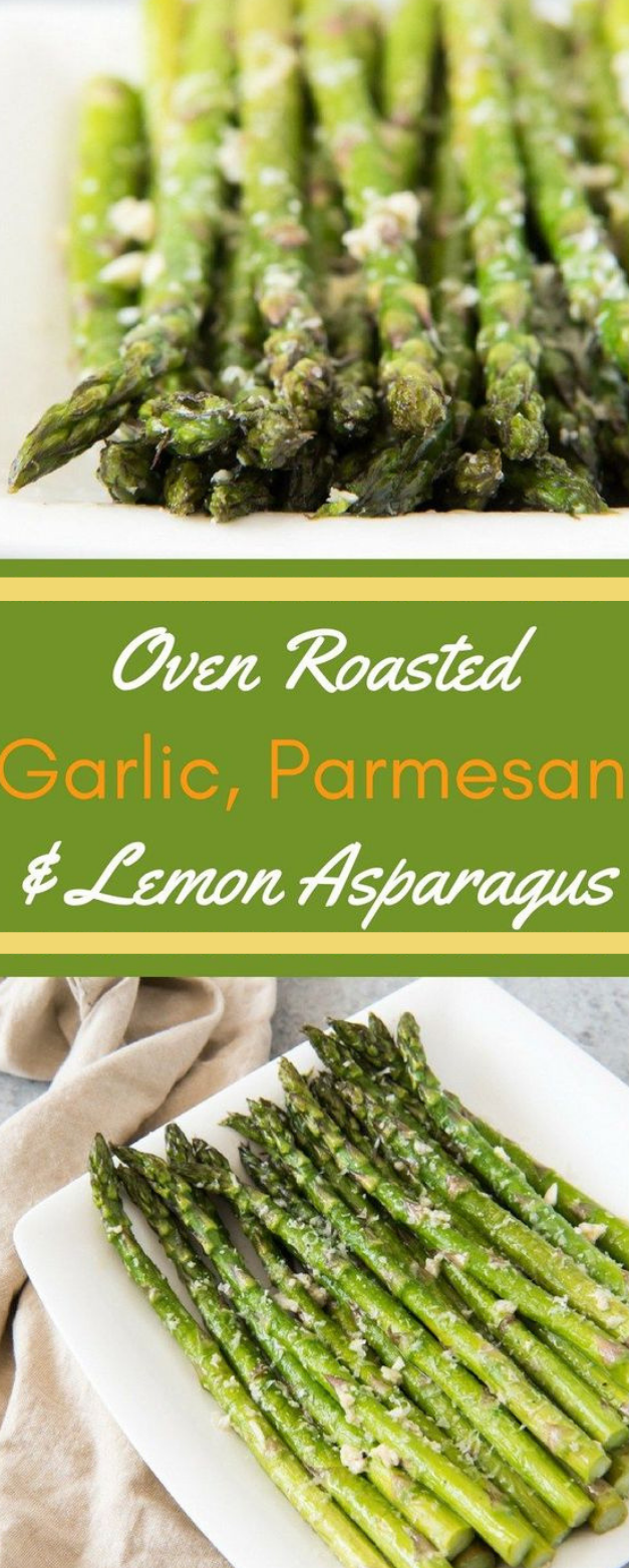 OVEN ROASTED ASPARAGUS WITH GARLIC, PARMESAN, & LEMON #parmesan #dinner