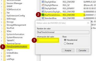 Modificamos el TimeZoneInformation del registro de Windows