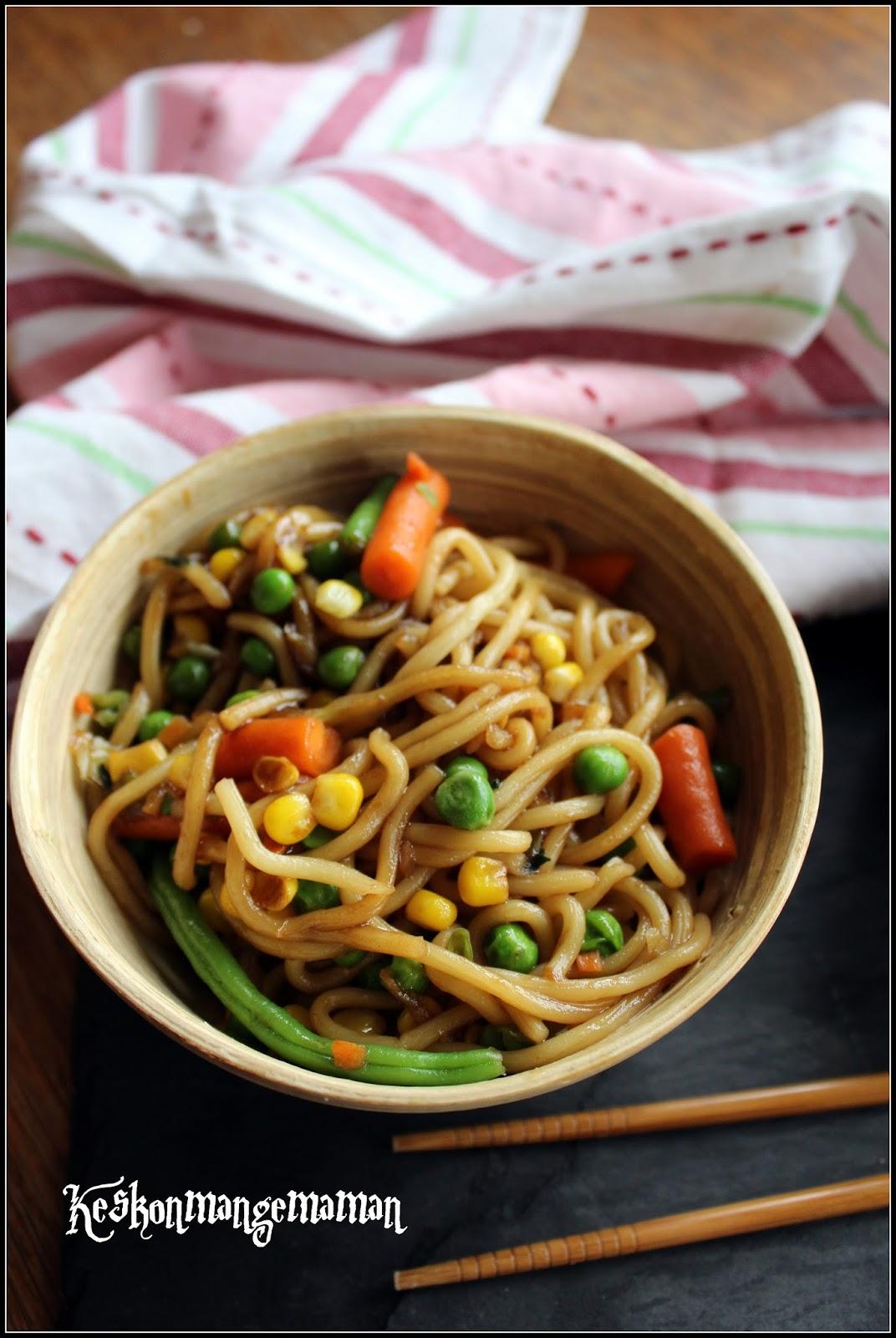 Keskonmangemaman nouilles udon aux petits l gumes for Cuire legumes micro onde