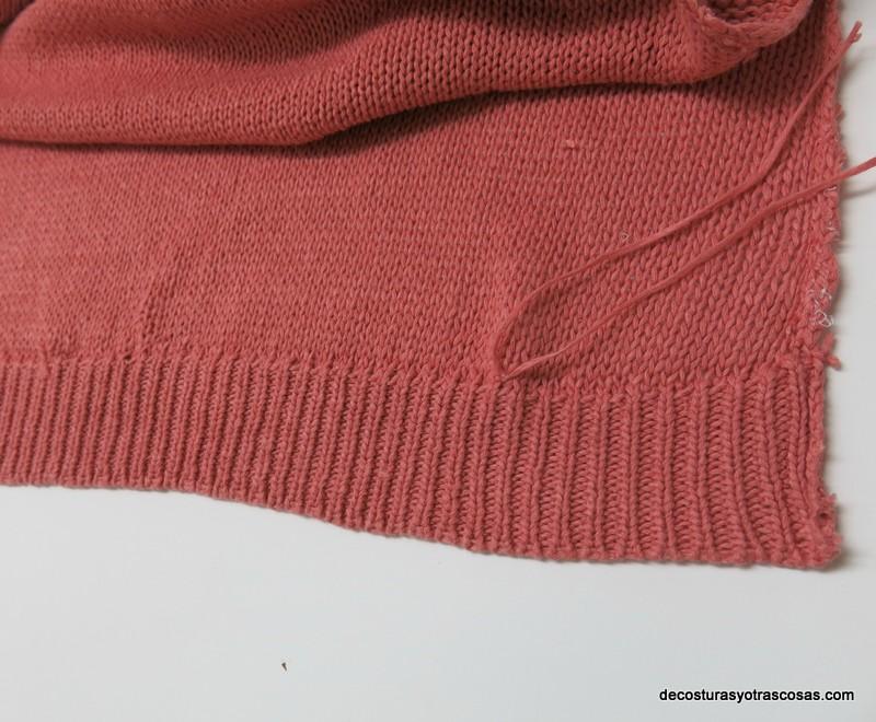 reducir de largo un jersey con puntos invisibles