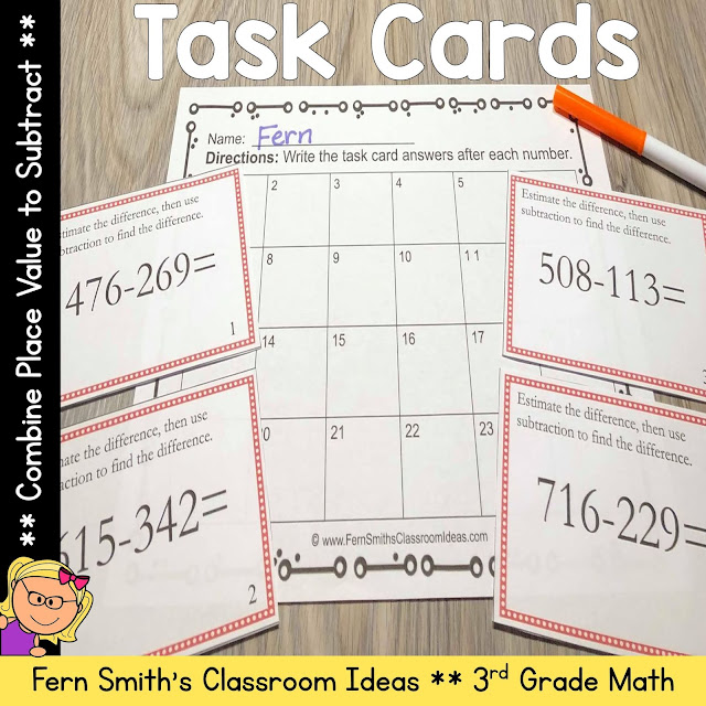 Click Here to Download This Combine Place Values to Subtract Task Cards Resource Today!