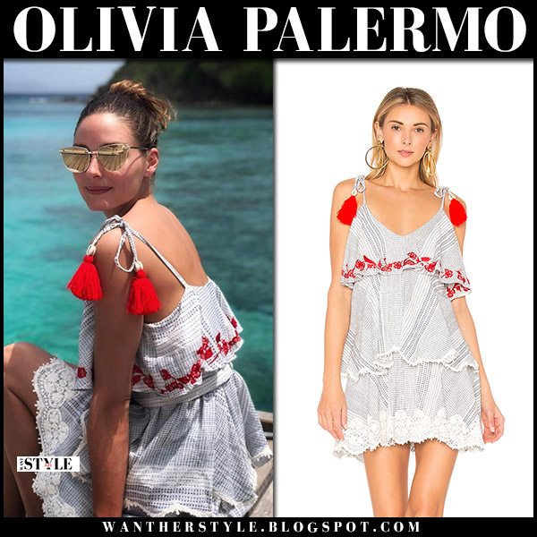 Olivia Palermo in blue and red tie sleeve tassel dress hemant and nandita aesha summer mustique island fashion august 8