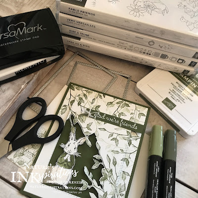 By Angie McKenzie for Kre8tors Blog Hop; Click READ or VISIT to go to my blog for details! Featuring the Fable Friends and Very Versailles stamp sets by Stampin' Up!;  #fablefriendsstampset #veryversaillesstampset #stitchedrectangledies #naturesinkspirations #coloringwithblends #stampinblendsmarkers #makingotherssmileonecreationatatime #cardtechniques #stampinup #handmadecards #fussycutting #friendshipcards #kre8torsbloghop #monochromaticgreen