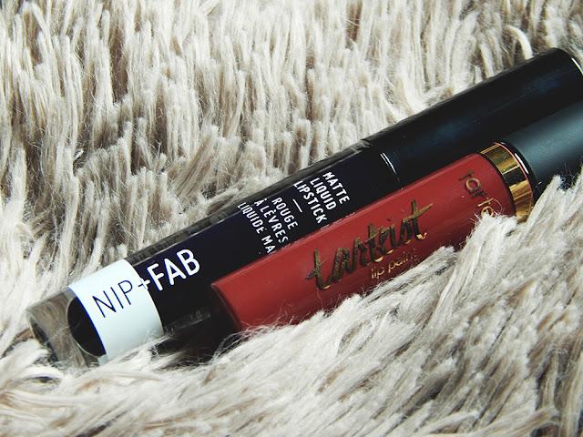 Nip+Fab Liquid lipstick in Blueberry Sorbet and Tarte Tarteist Lip Paint in Killin' It