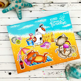 Summer Beach Cards by July Guest Designer Ildi Imrefalvi | Newton's Summer Treats, Newton Summer Vacation and Vitamin Sea Stamp Sets by Newton's Nook Designs #newtonsnook #handmade