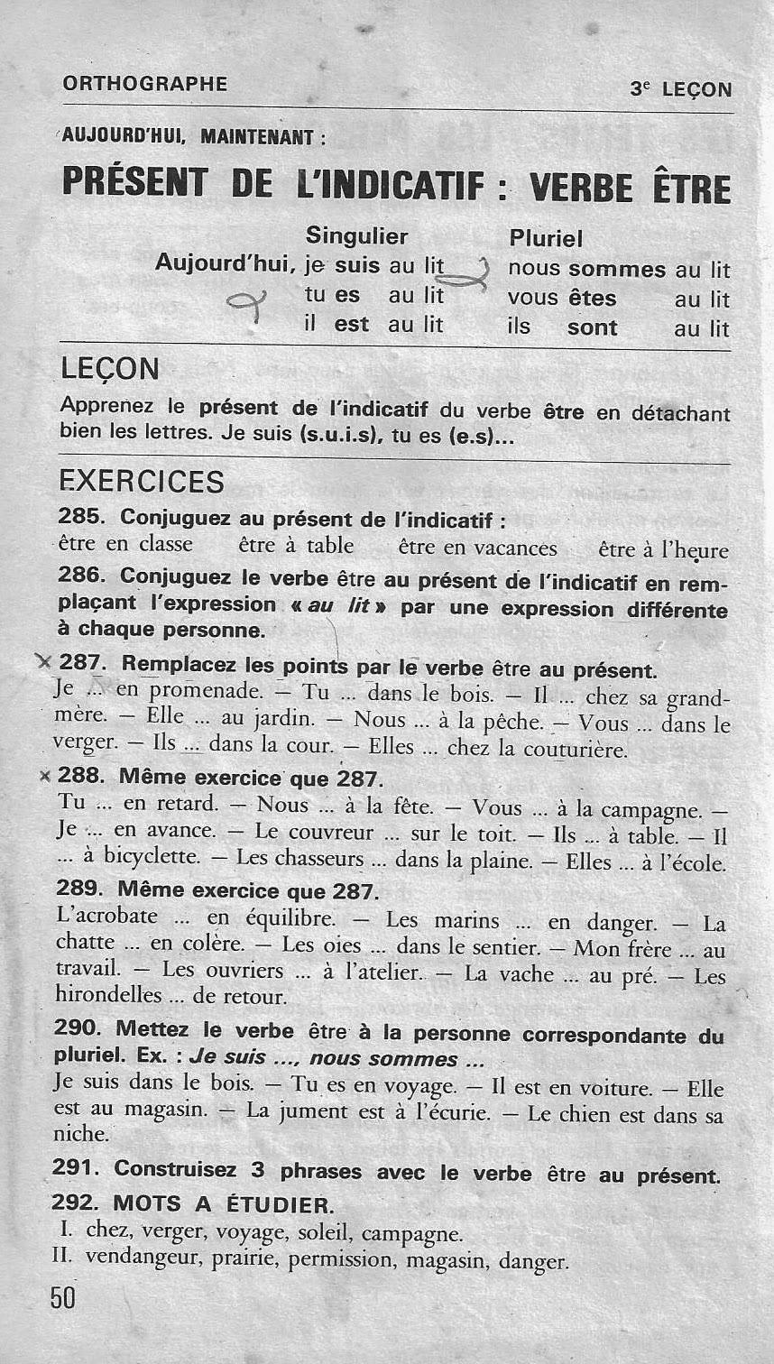 école : références: 3 à 14 Présent de l'indicatif (Bled CE-CM1, conjugaison)