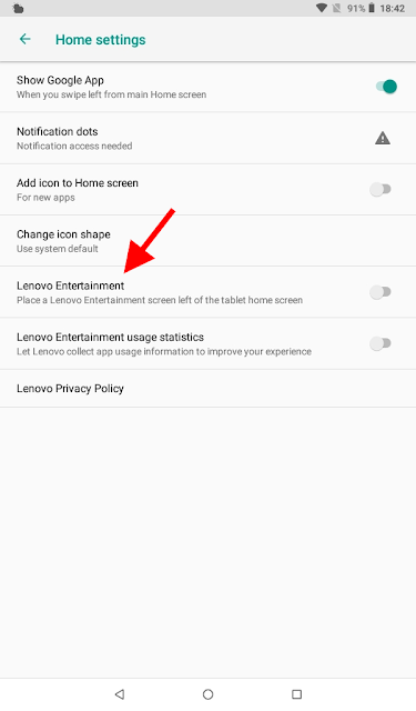 Home screen settings option to turn off Lenovo Entertainment on a Lenovo Tab E7 tablet