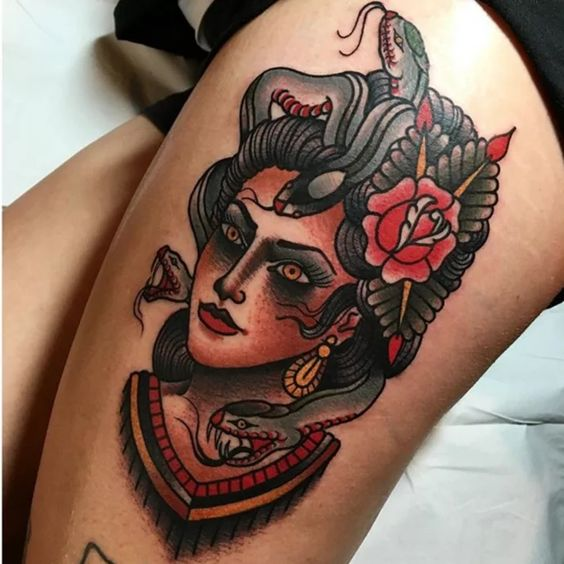 Old-School-Medusa-Traditional-Tattoo