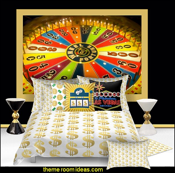 dollar sign bedding las vegas casino mural   Casino Theme Decorations - Las Vegas Casino Themed decorating ideas - casino themed bedroom decorating ideas - Casino Wall Decorations -   Las Vegas Themed Bedroom Decor -  Casino Party Supplies - vegas themed bedroom ideas -
