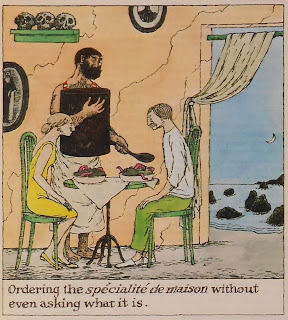 A color illustration showing a man and woman in a sea-side restaurant being served a plate of black sludge with red tentacles creeping out of it.