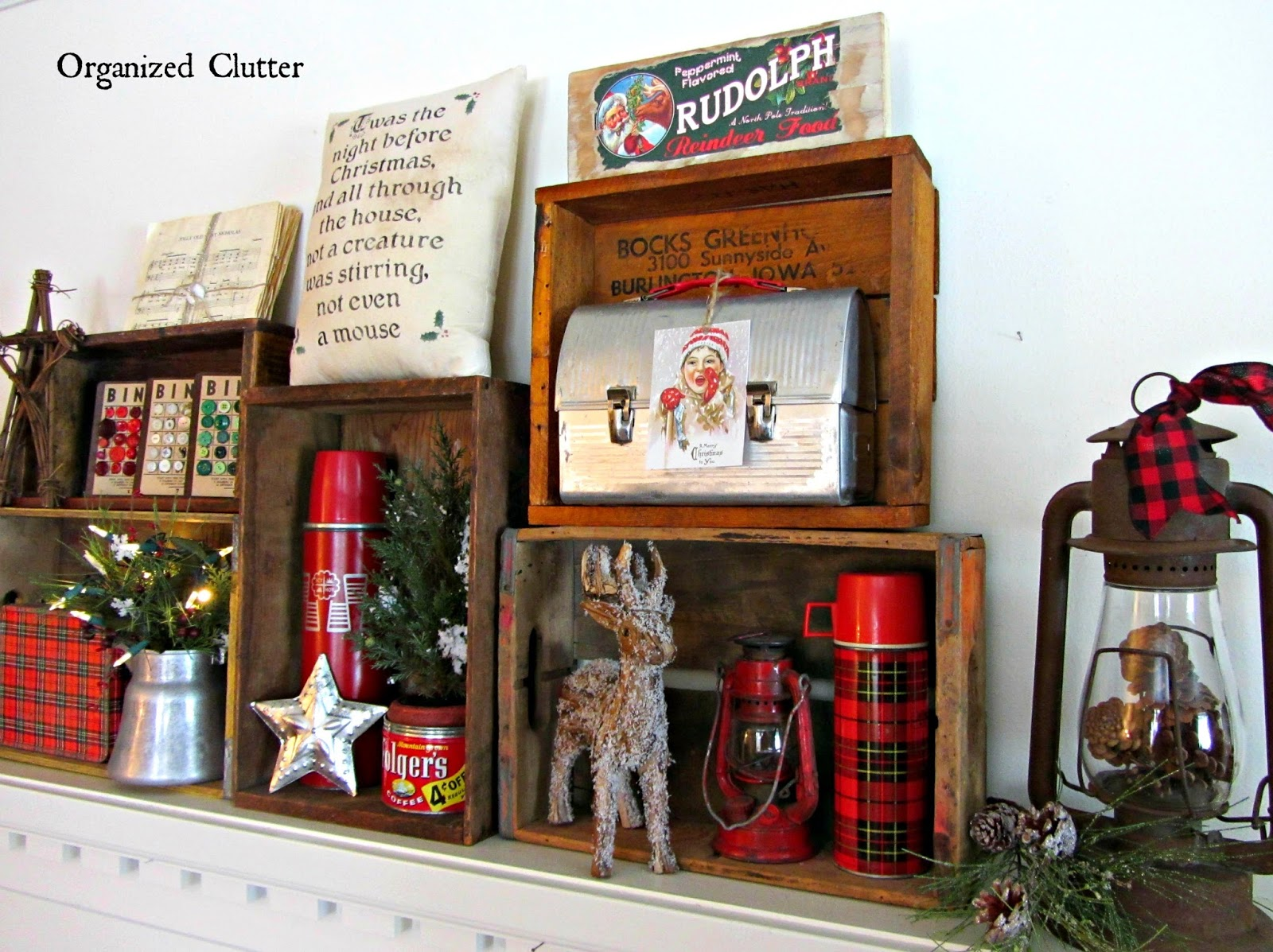 an organized cluttered rustic crate christmas mantel - Decorating Crates For Christmas
