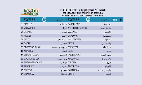 PRONOSTIC TOTOFOOT 14 Espagnol N° 900E