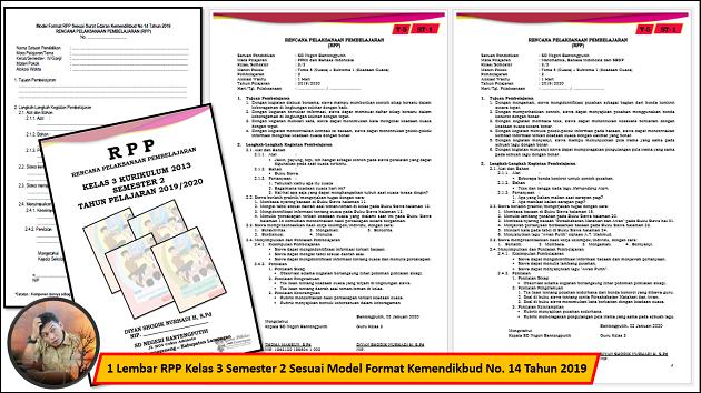 1 Lembar RPP Kelas 3 Semester 2 Sesuai Model Format Kemendikbud