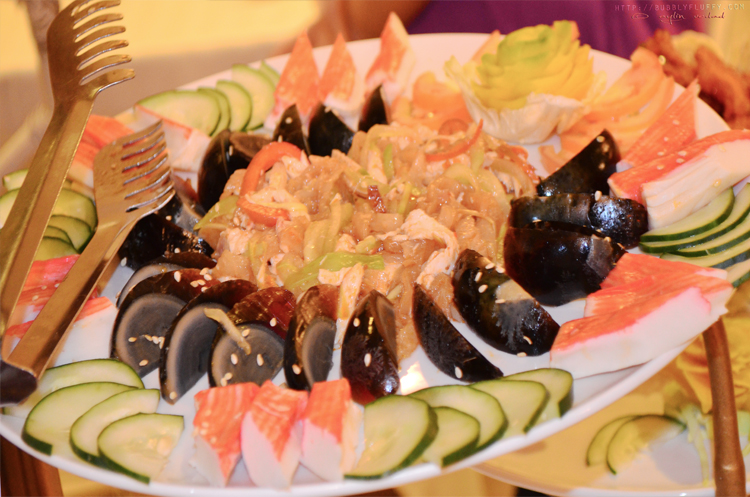 Appetizers – Century Egg, Crab Meat, Cucumber