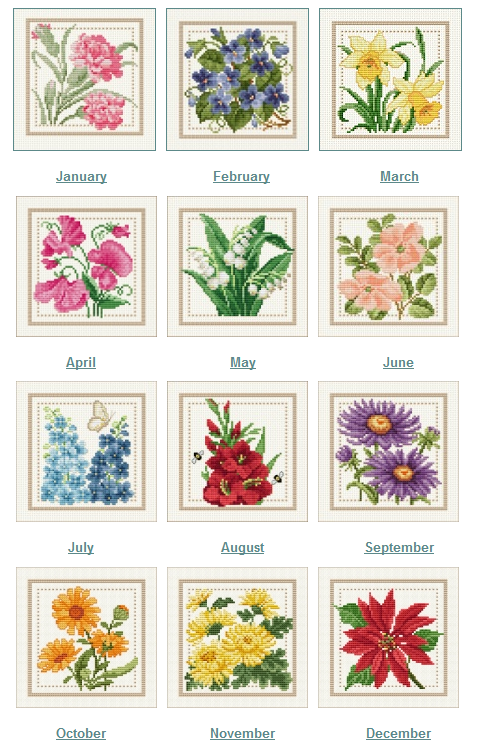 Birth Month Flowers Combined: Brownie's Chair: Flower Of The Month SAL